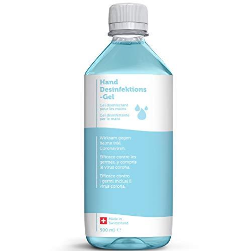 Handdesinfektion 500ml I Trocknet Hände nicht aus I Desinfektionsmittel antivirale Desinfektion Schnelleinziehendes Viruzid Handgel I Hygienische Reinigung I Handreiniger ohne Wasser für unterwegs