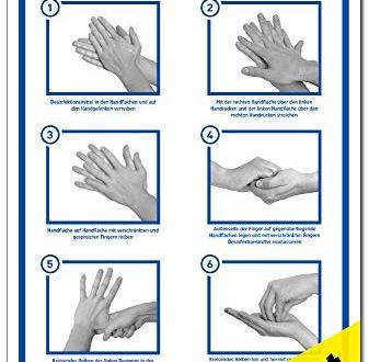 2x Aufkleber Haende richtig desinfizieren gemaess CEN EN 1500 337x330 - 2x Aufkleber Hände richtig desinfizieren | gemäß CEN EN 1500 | 200 x 300 mm Folie selbstklebend | Anleitung Händedesinfektion Hände waschen | Hygiene Desinfektion | Handdesinfektion Händewaschen | LEMAX®