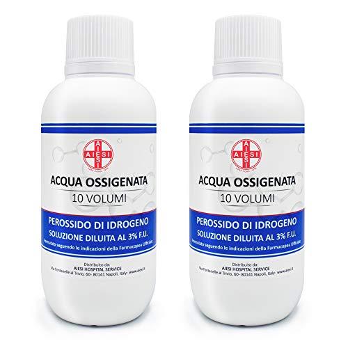 AIESI® Sauerstoffhaltiges Wasser desinfektionsmittel 3% 10 volumen mit kindersicherheitskappe flasche 250 ml (Packung mit 2 stück)