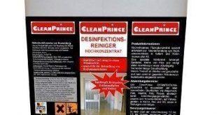 CleanPrince 5 Liter Desinfektionsreiniger Doppelkonzentrat Hochkonzentrat Konzentrat Desinfektion Reiniger Reinigungsmittel 310x165 - CleanPrince 5 Liter Desinfektionsreiniger Doppelkonzentrat Hochkonzentrat Konzentrat Desinfektion Reiniger Reinigungsmittel auf allen wasserfesten Oberflächen, in Küche, Bad und WC sowie in Stallungen und Käfigen, chlorfrei, geruchsfrei, Keller, Wohnraum | bekämpft Bakterien Schimmelpilze Keime Wasserschäden Desinfektionsmittel Hochwasserschäden Holz Putz Mauerwerk | 200-400 m² / 5 Liter